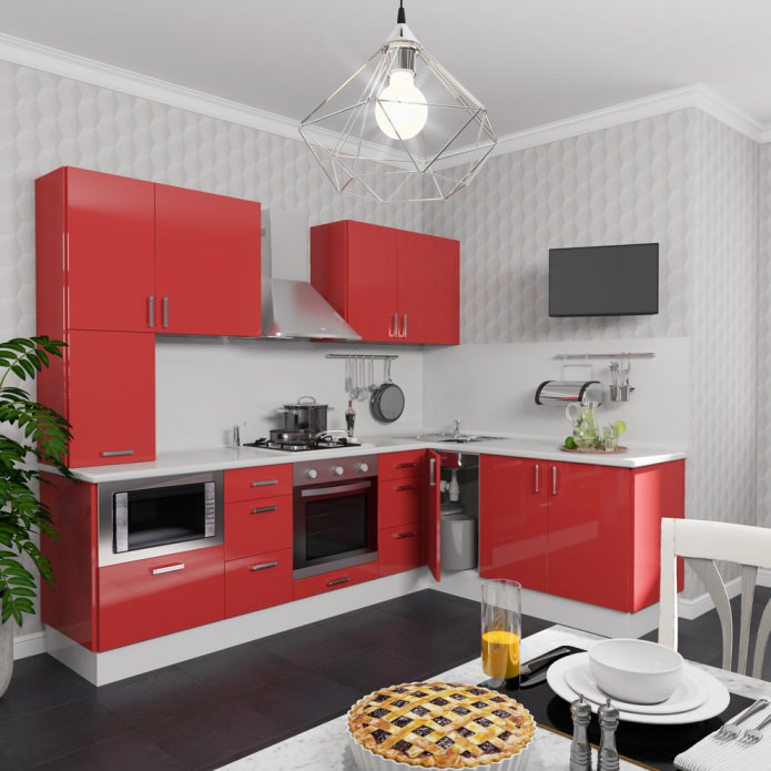 небольшая кухня в красных тонах