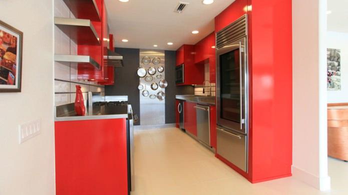 двухрядный кухонный гарнитур