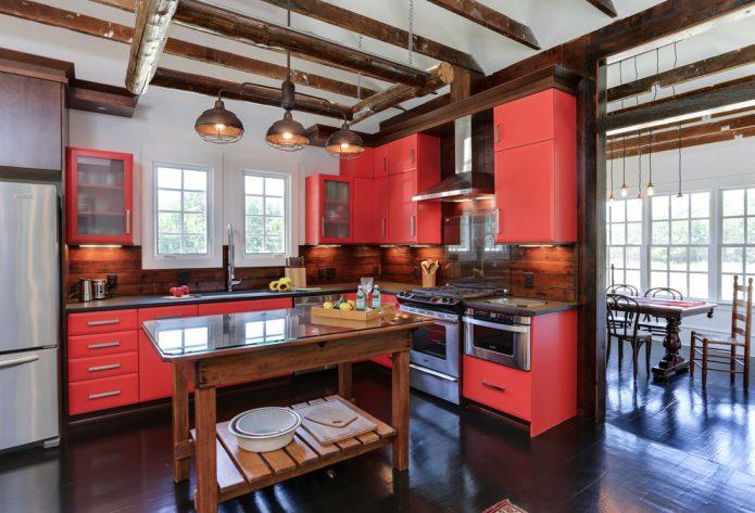 угловая кухня в лофт стиле
