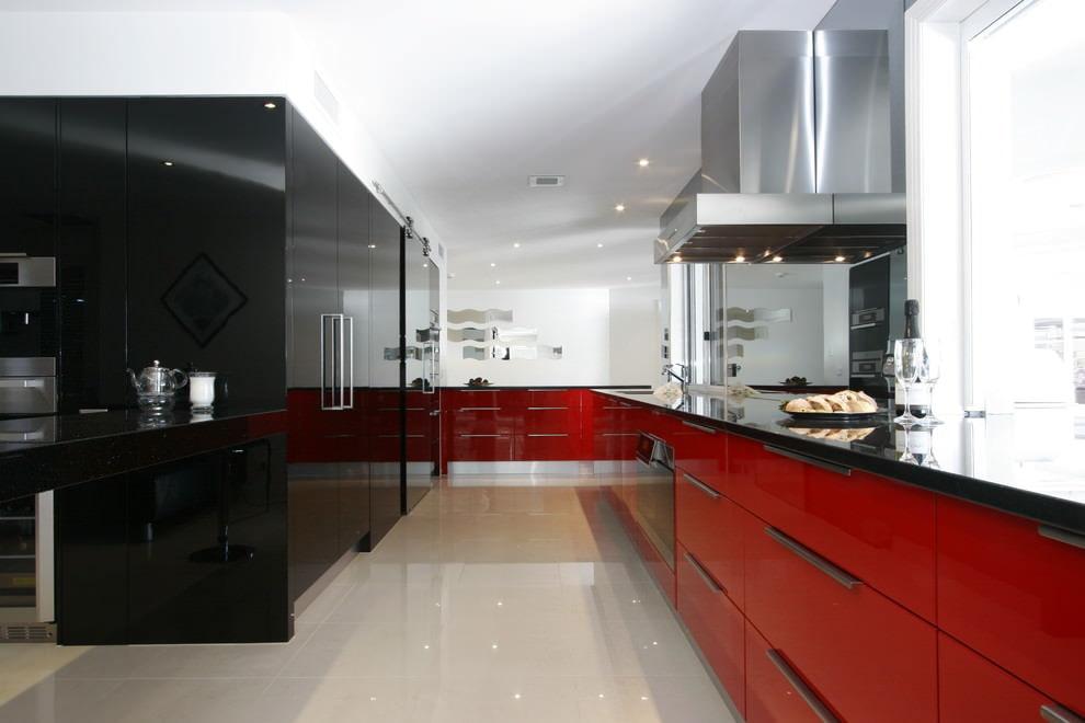 кухня в красно-бело-черном цвете фото наша последняя