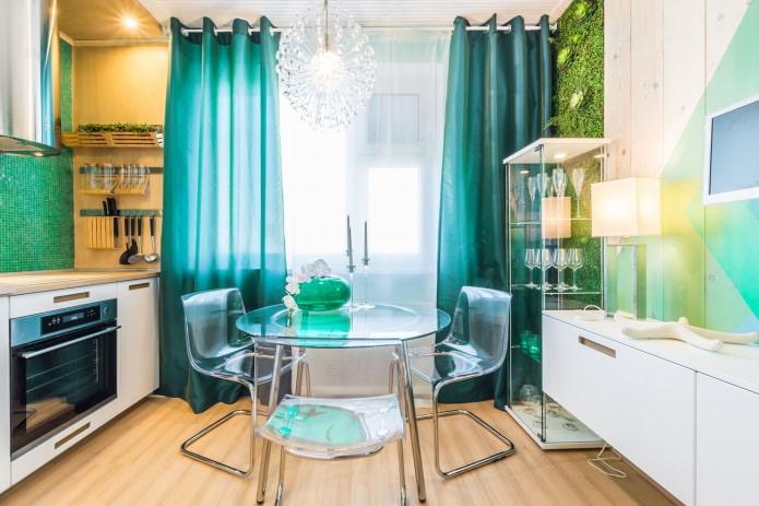 бирюзовые шторы на кухне