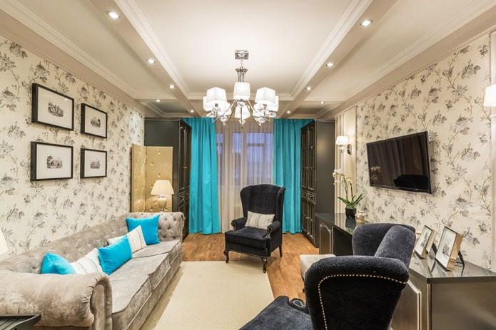 Коричневый дизайн комнаты с бирюзовыми шторами