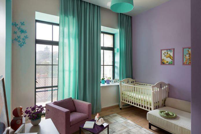 бирюзовые шторы в детской