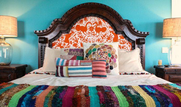 декор кровати в стиле бохо