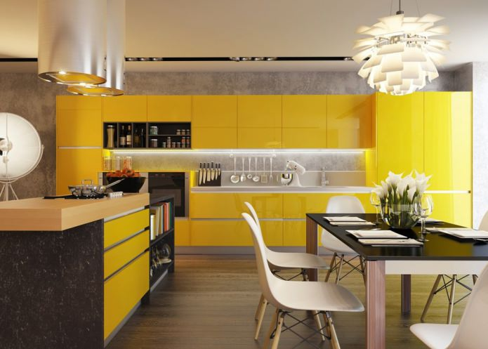 кухня с желтым гарнитуром