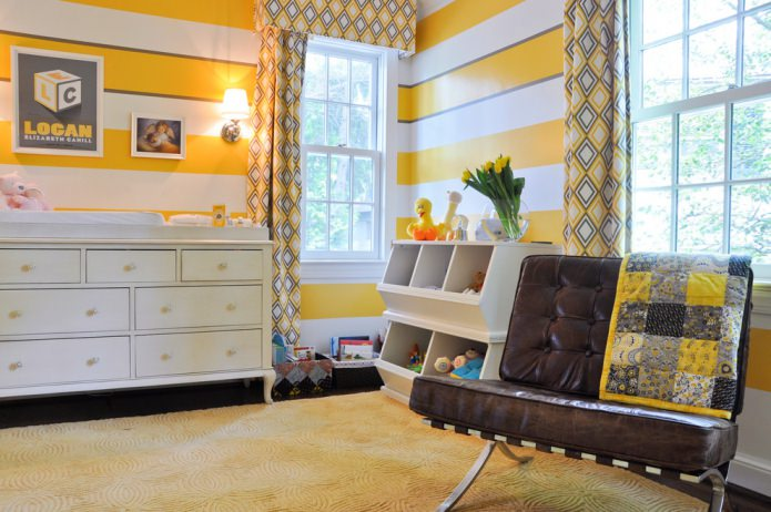 бело-желтые полосы на стенах