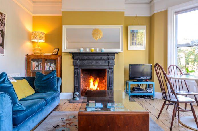 Желто-синяя гостиная