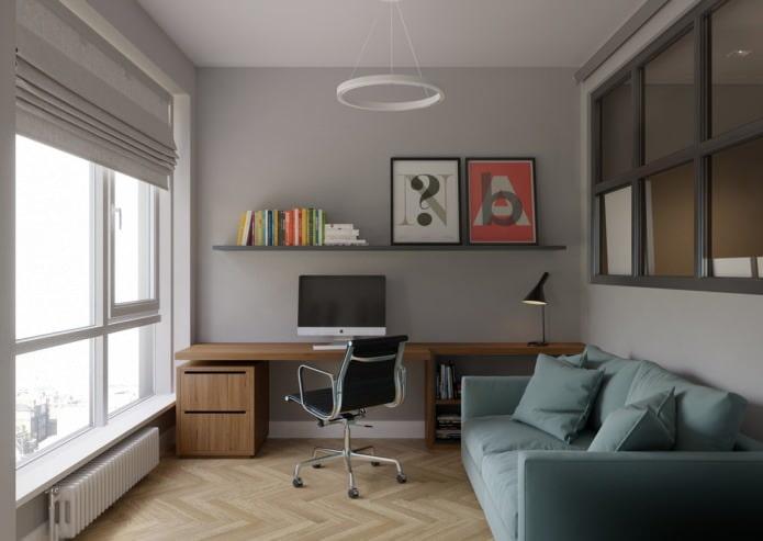 интерьер кабинета с светлым паркетом и серыми стенами