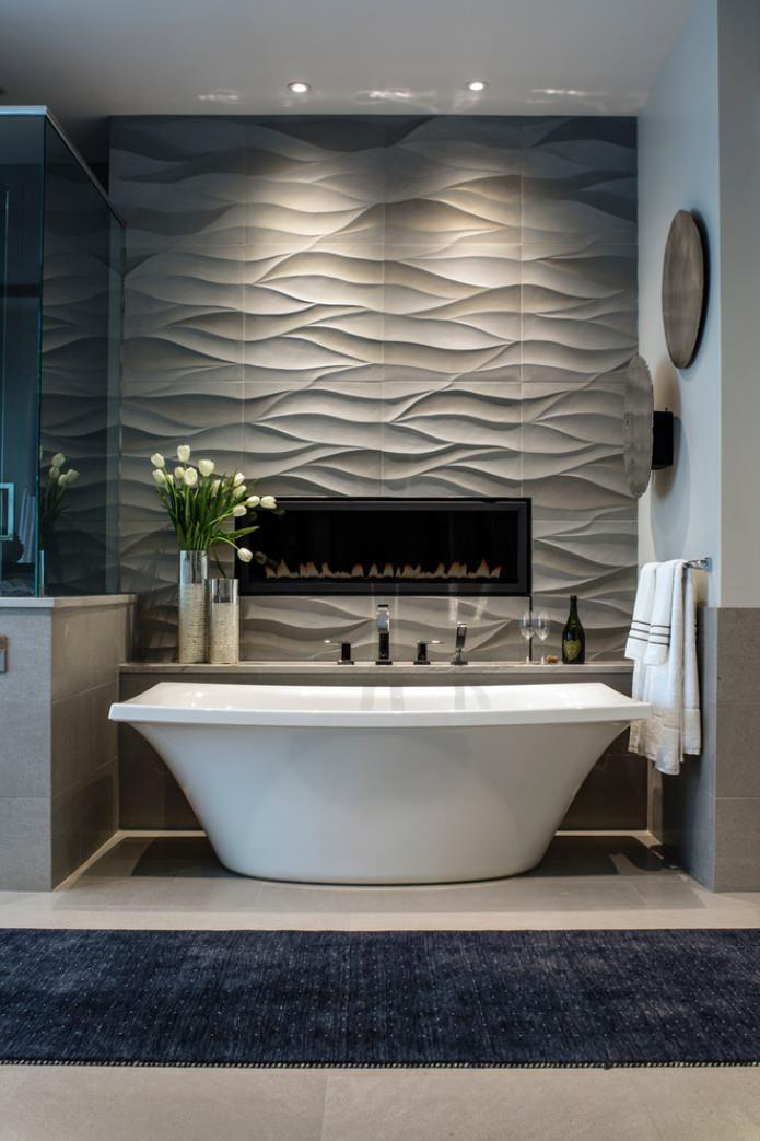 серые панели для стен в ванной