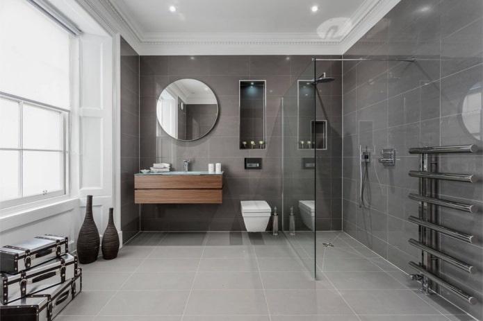 интерьер ванной в современном стиле с серой плиткой прямоугольной формы