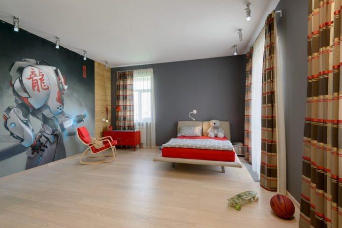 серые стены с фотообоями в детской