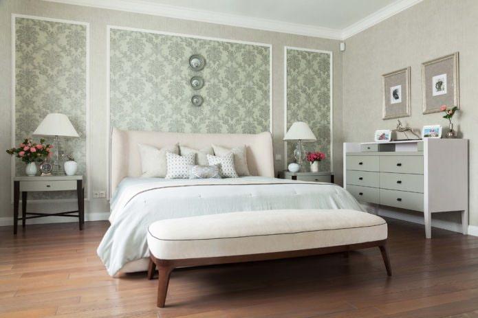 Серо-зеленые стены в спальне