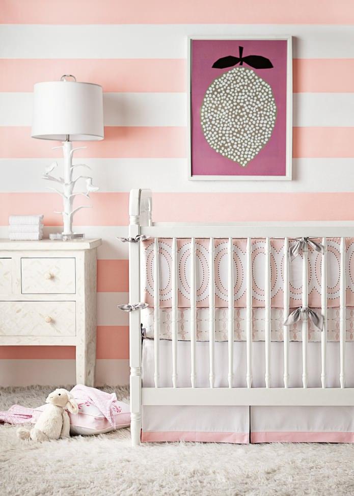 Розовые полосатые обои в детской