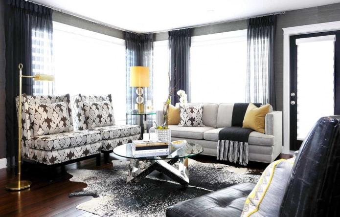 Светлая мебель и темный пол