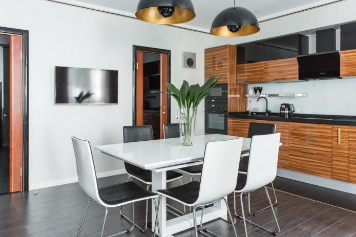 темная плитка в кухне