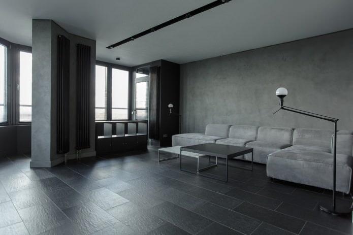 темно-серый керамогранит в гостиной
