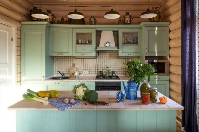 мятная кухня в стиле кантри