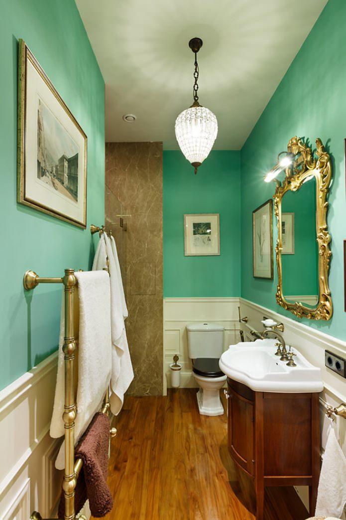мятные стены в ванной