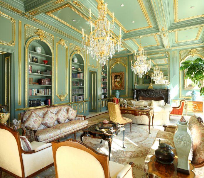 мятная гостиная в классическом стиле