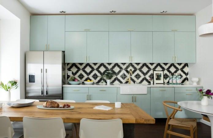 мятная кухня в стиле минимализм