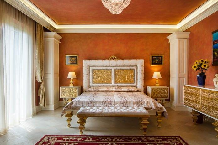 Фактурная краска в интерьере спальни