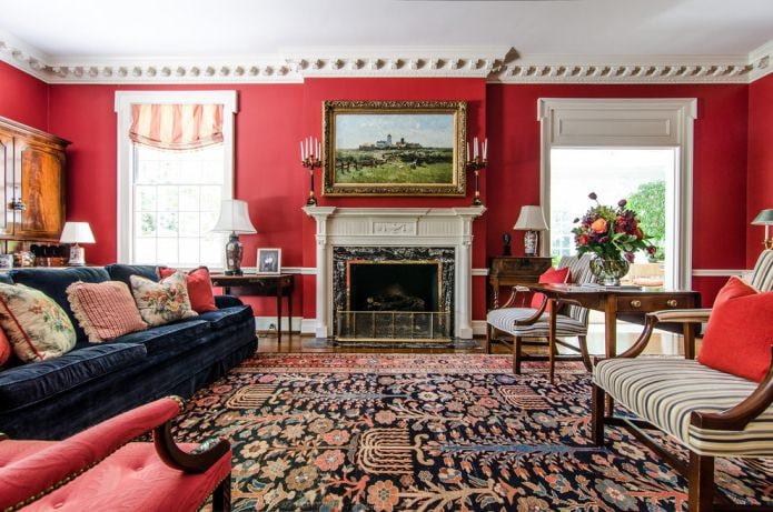 красные стены в гостиной