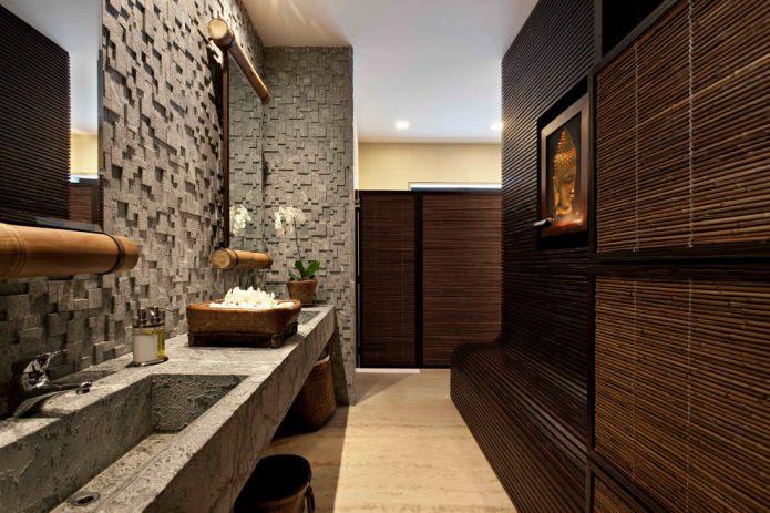 Бамбуковые панели в ванной