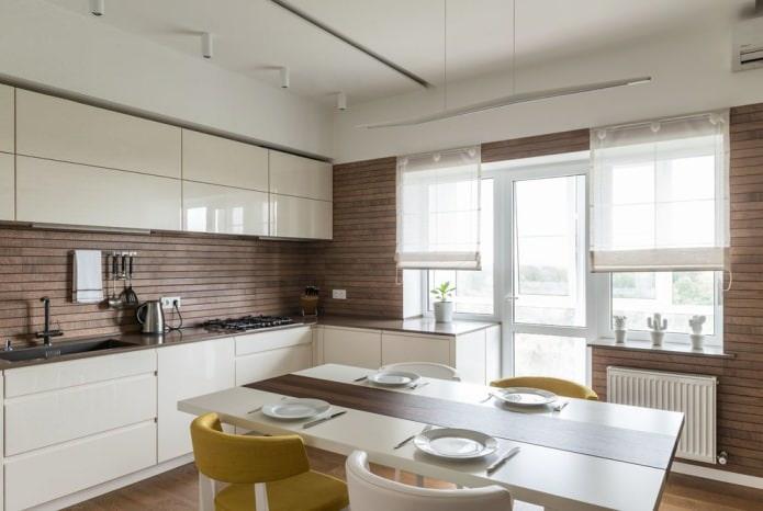 реечная облицовка стен в интерьере современной кухни