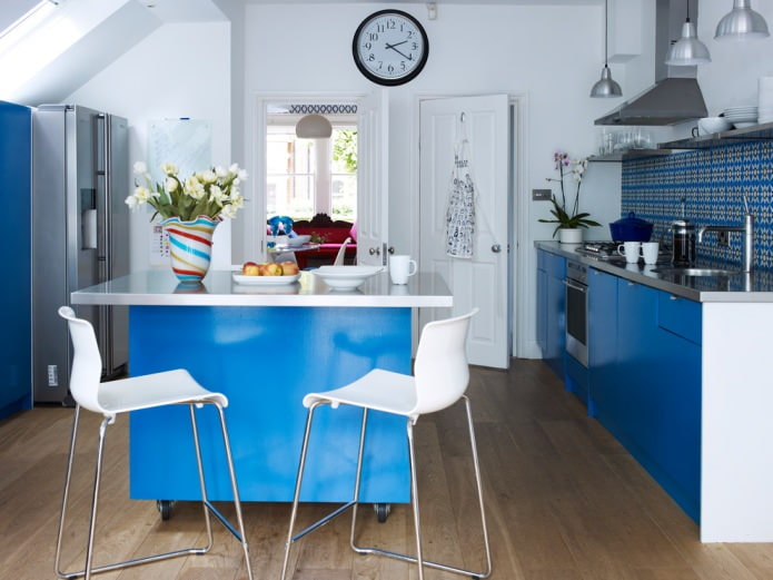 светло-синяя кухня с глянцевым гарнитуром