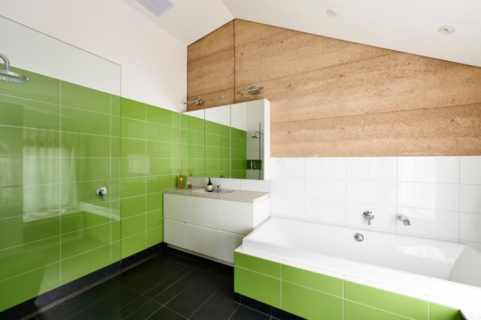 салатовая плитка в ванной