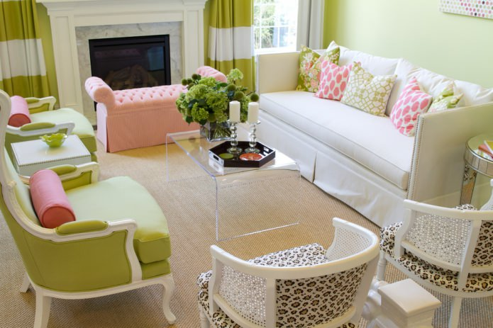 Зелено-розовое сочетание