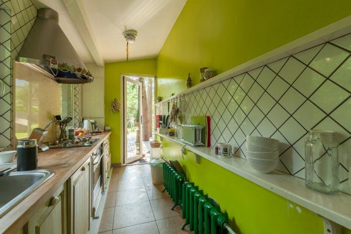 салатовая стена в кухне