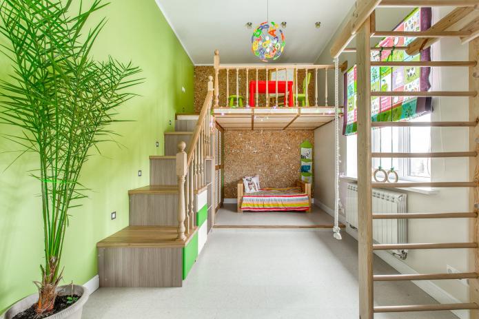 салатовая стена в детской