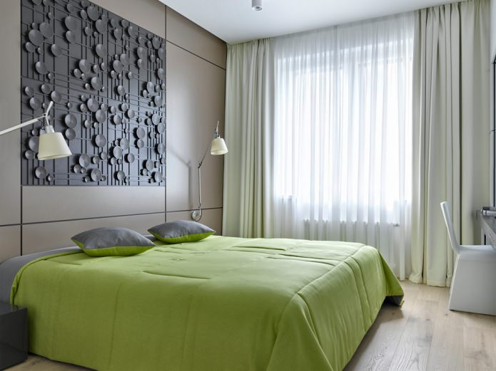 серо-салатовый интерьер спальни
