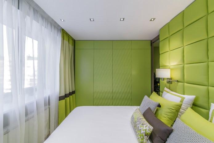 Современная спальня в салатовых тонах