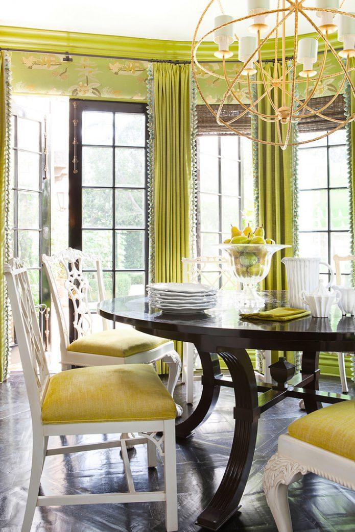 обои и шторы салатового цвета