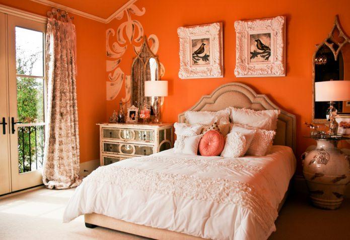 оранжевый в спальне