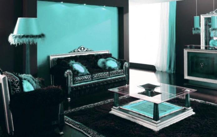 Черно-бирюзовая гостиная