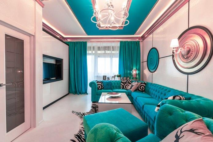 Бирюзово-розовая гостиная
