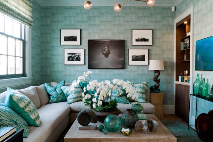 уютная гостиная цвета тиффани
