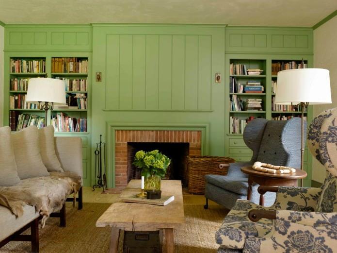 оливковые стены в гостиной