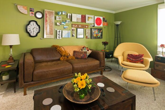 Оливково-коричневая гостиная