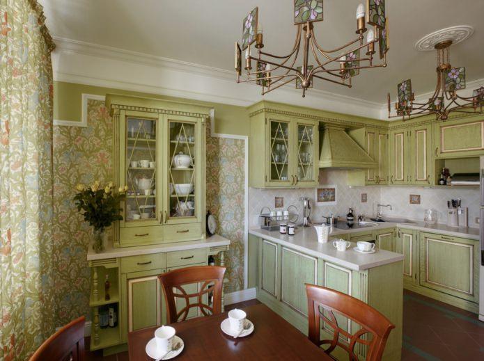 кухня в светло-оливковых тонах