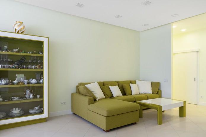 оливковый шкаф и диван