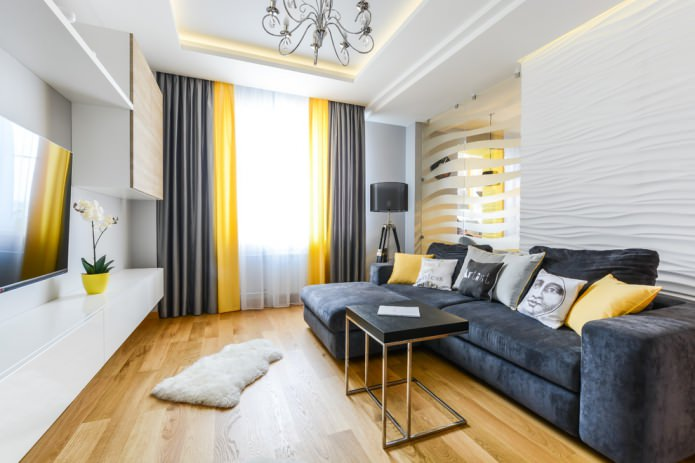 серые и желтые шторы