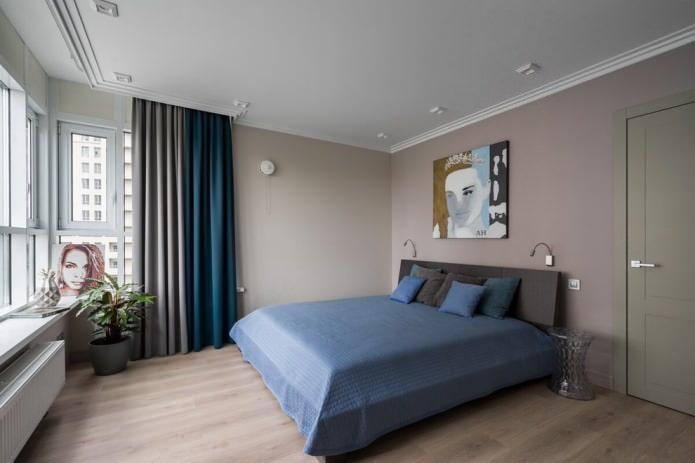 Серо-синие шторы