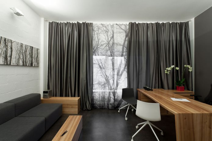 серые шторы с рисунком