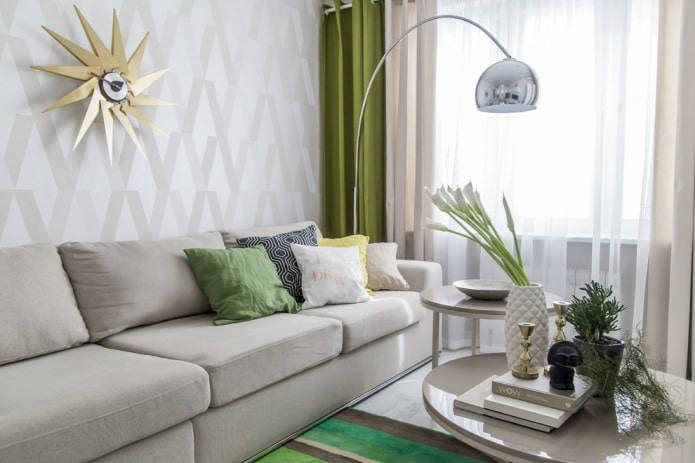 стильный интерьер с зелеными портьерами