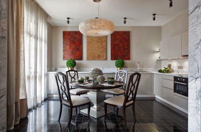 льняные шторы на кухне