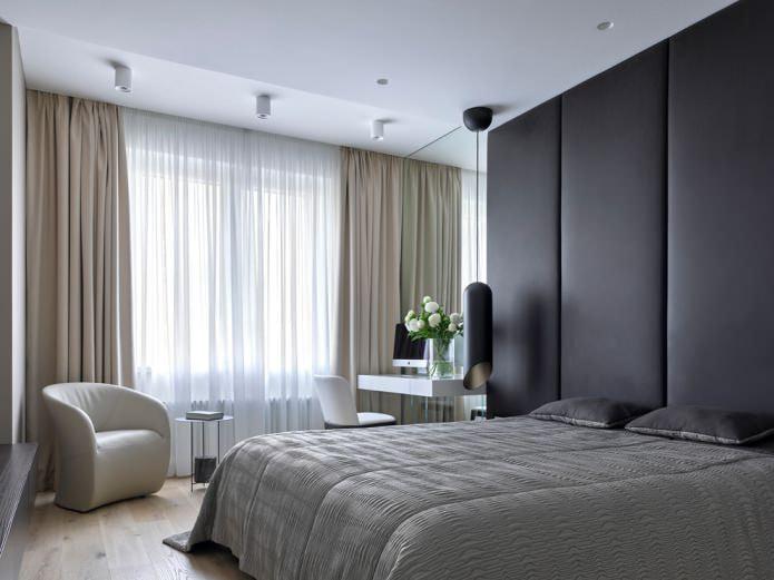 шторы в спальне в стиле хай-тек